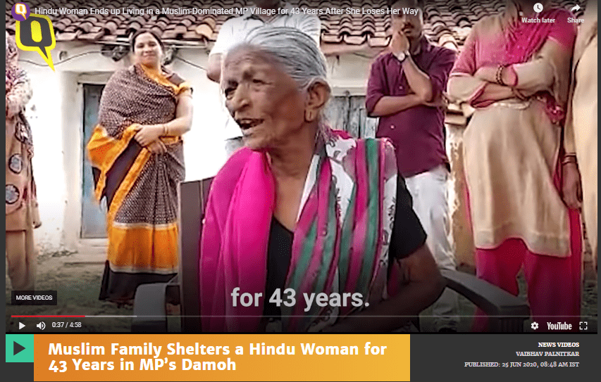 Muslim Family Shelters a Hindu Woman for 43 Years in MP's Damoh