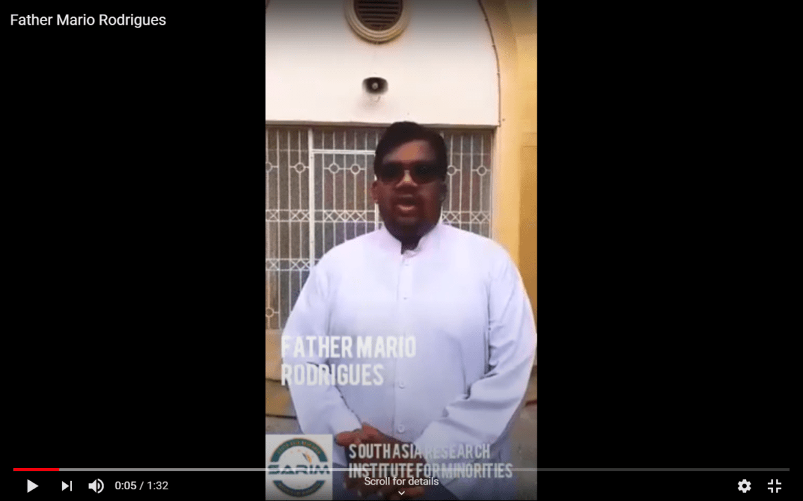 Message from Father Mario Rodrigues on Pakistan's National Minorities Day 11th August 2020