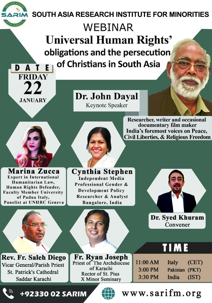 """#InternationalWebinar """"Universal Human Rights' obligations and the persecution of Christians in South Asia"""