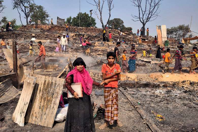 Church groups rush aid to fire victims in Rohingya camp