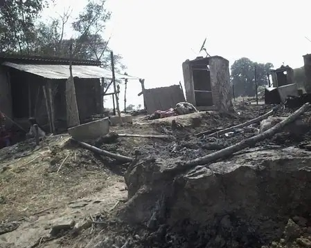 Home of four families burnt to ashes in Suhawal