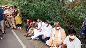 Rajasthan: 'Stopped' from meeting Krishna Valmiki's family, BJP leaders stage sit-in protest